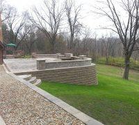 yard and retaining wall